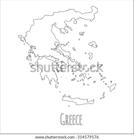 Outline vector map of Greece. Simple Greece border map. Vector silhouette on white background. - stock vector