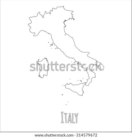 Outline vector map of Italy. Simple Italy border map. Vector silhouette on white background. - stock vector