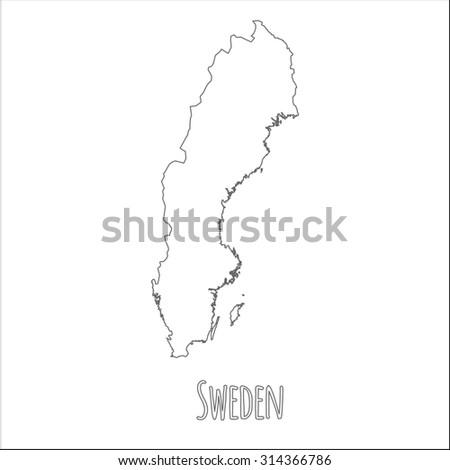 Sweden Map Outlines Stock Vector Shutterstock - Sweden map outline