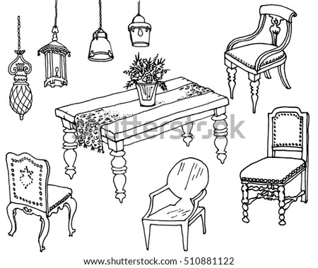 Outline Vector Set Of Classic Furniture And Lamps For The Dining Room Interior Design