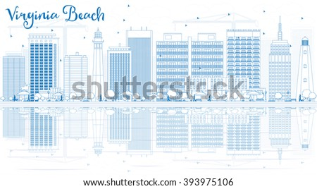 Outline Virginia Beach Skyline with Blue Buildings and Reflections. Vector Illustration. Business Travel and Tourism Concept with Copy Space. Image for Presentation, Banner, Placard and Web Site - stock vector