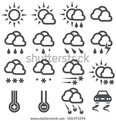 Outline weather icons isolated on white background.