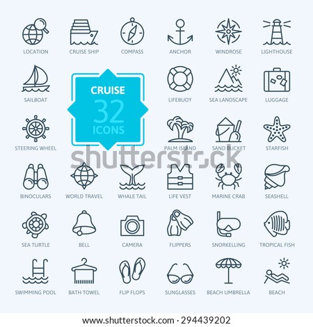 Outline web icon set - journey, vacation, cruise - stock vector