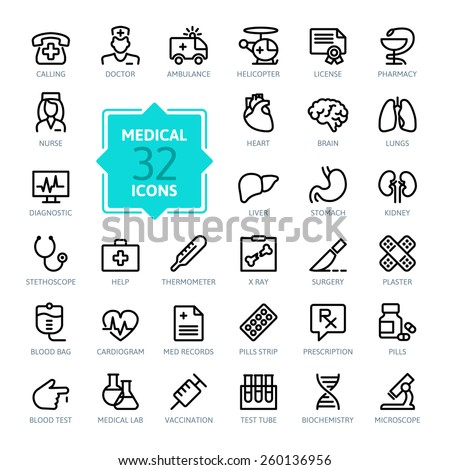 Outline web icon set - Medicine and Health symbols - stock vector