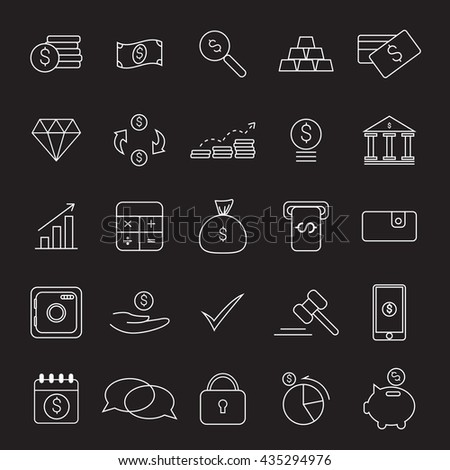 Outline web icon set , money