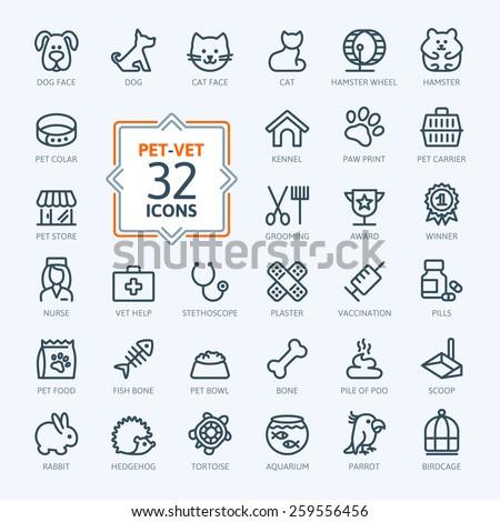 Outline web icon set - pet, vet, pet shop, types of pets  - stock vector