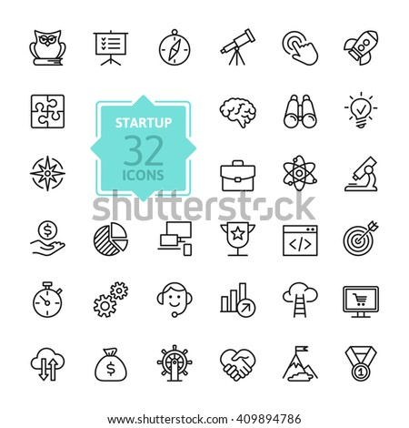 Outline web icon set - start-up project - stock vector