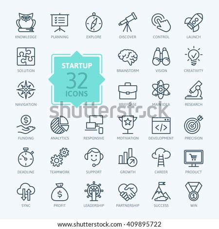 Outline web icon set - start-up project