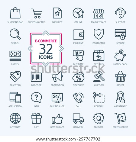 Outline web icons set - E-commerce - stock vector