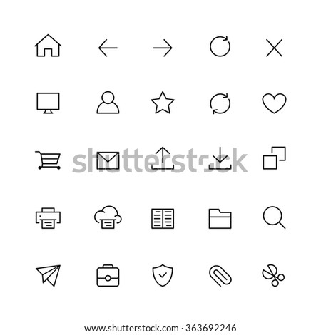 Outline Web Interface Icons - stock vector