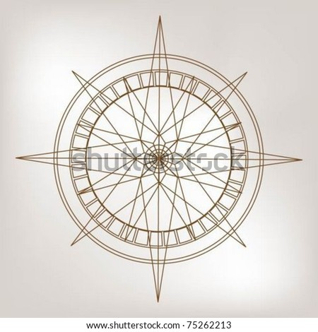 Outline wind rose compass - stock vector