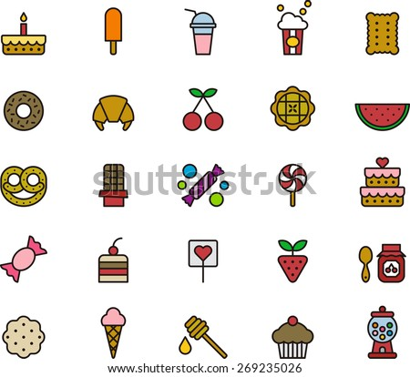 Outlined and Colored SWEETS & CANDY ICON SET in a white background - stock vector