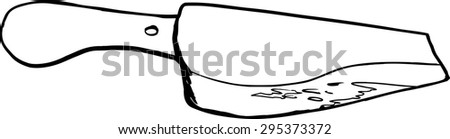 Outlined bloody meat cleaver drawing over white background