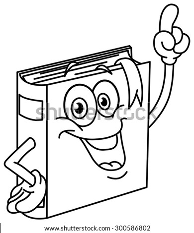 Outlined book cartoon pointing with his finger. Vector illustration coloring page. - stock vector