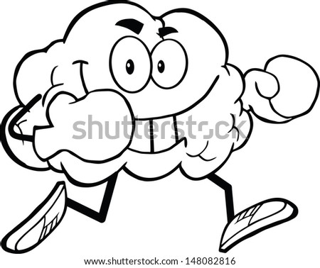 Outlined Brain Cartoon Character Running With Boxing Gloves - stock vector