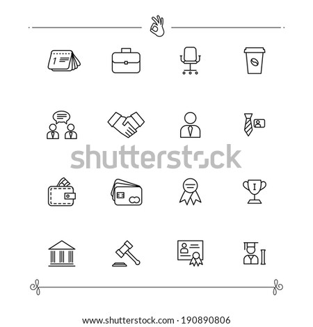 Outlined Business and Finance Icon Set Collection - stock vector