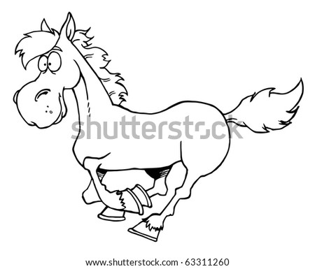 Outlined Cartoon Horse Running - stock vector