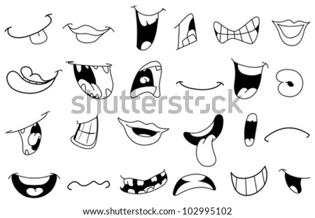 Outlined cartoon mouth set - stock vector