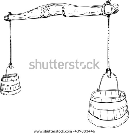 Outlined cartoon sketch of 18th century carved wooden yoke with rope holding two large buckets for carrying water - stock vector