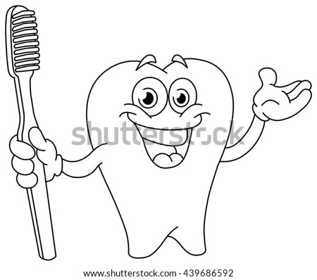 Outlined cartoon tooth holding a toothbrush. Vector illustration coloring page.