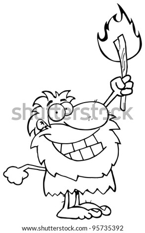 Outlined Caveman Holding Up A Torch.Vector Illustration - stock vector