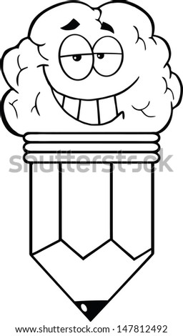 Outlined Clever Pencil Cartoon Character - stock vector