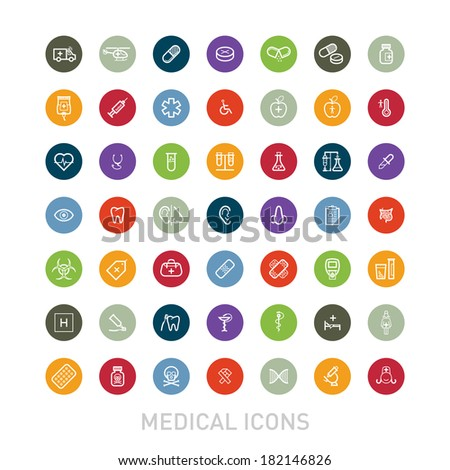 Outlined Colorful Medical Icons Set Collection - stock vector