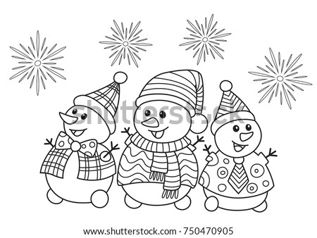 Outlined Doodle Anti Stress Christmas Coloring Funny Snowmans Book Page For Adults And