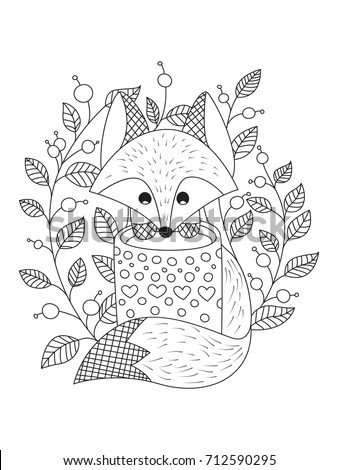 Outlined Doodle Anti Stress Coloring Book Page Cute Fox With Cup Of Tea