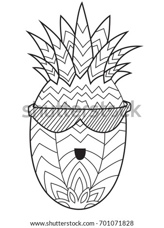Outlined Doodle Anti Stress Coloring Book Page Funny Pineapple For Adults And Children