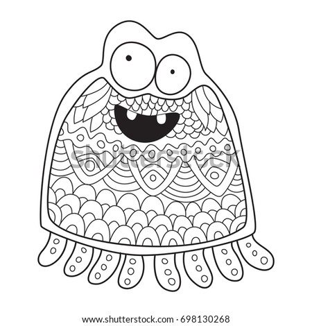 outlined doodle anti stress coloring funny monster coloring book page for adults and - Funny Coloring Books For Adults