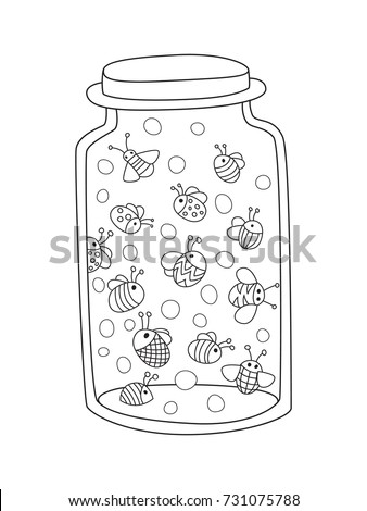Bug jar coloring page murderthestout for Mason jar coloring page