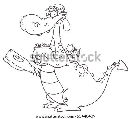 Outlined dragon leprechaun holding mace pot stock vector 55440409 outlined dragon leprechaun holding a mace and pot of gold ccuart Choice Image