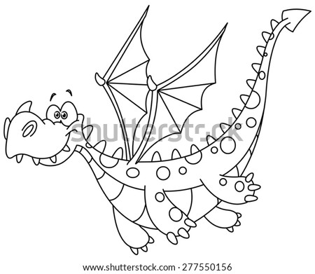 Outlined flying dragon. Vector illustration coloring page. - stock vector
