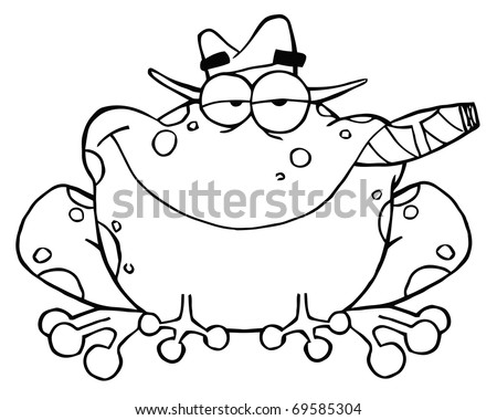 Outlined Frog Cartoon Mobster With A Hat And Cigar - stock vector