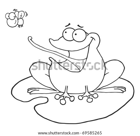Outlined Frog Catching Fly - stock vector