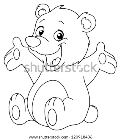 Outlined happy teddy bear raising his arms. Coloring page - stock vector