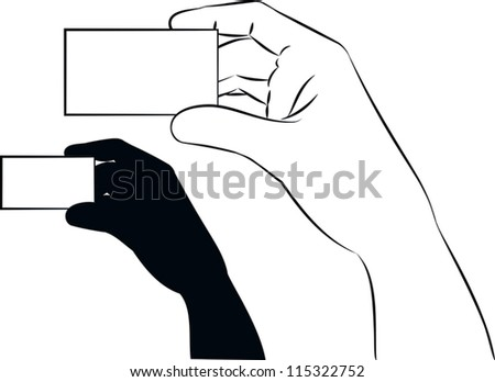 outlined illustration of a hand showing a blank business card.