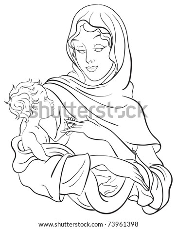 Outlined illustration of a madonna and child jesus coloring page