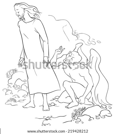 Outlined illustration of Jesus Christ Temptation in the Wilderness. Colouring page. Also available colored version - stock vector