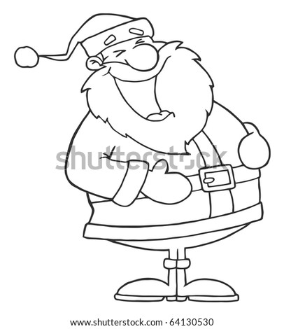 Outlined Laughs Santa - stock vector