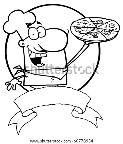 Outlined Male Chef Holding Up A Pizza Pie Over A Blank Banner And Circle - stock vector
