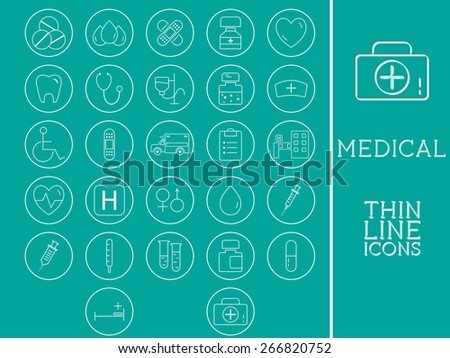 Outlined Medical and Healthcare Icons Set Collection. Trendy thin line design. On blue background. Vector illustration - stock vector