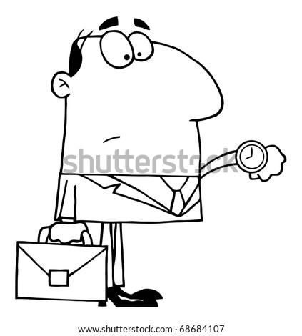 Outlined Office Worker Watching The Clock - stock vector