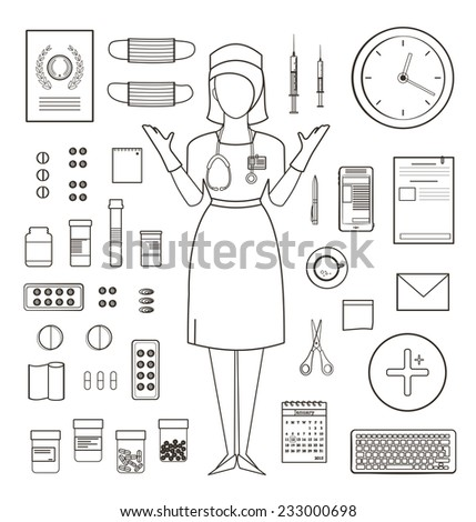 Outlined One Color Medical Symbols Icons Stock Vector 233000698
