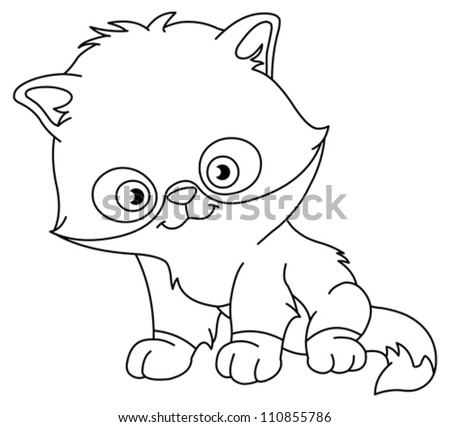 Outlined Persian kitten - stock vector