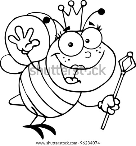 Outlined Queen Bee Cartoon Character Waving For Greeting. Vector Illustration.Jpeg version also available - stock vector