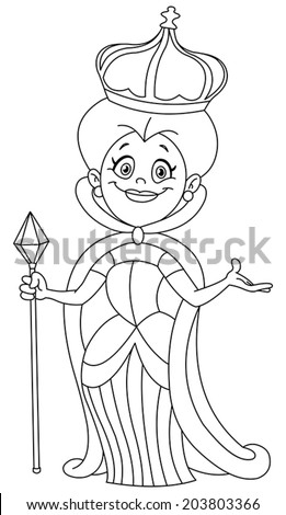 Outlined queen. Vector illustration coloring page. - stock vector