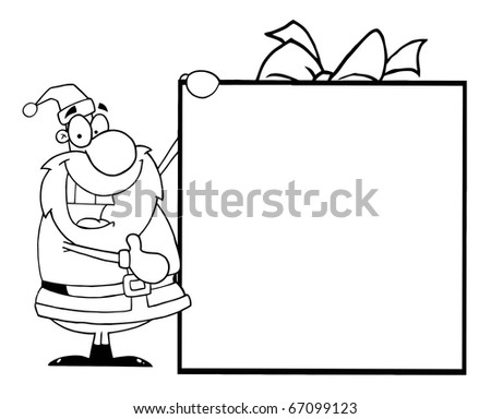 Outlined Santa With Big Gift Banner