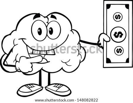 Outlined Smiling Brain Character Showing A Dollar Bill - stock vector